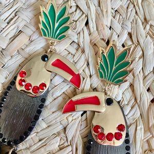 Jewelry - Black Parrot 🌺 Tassel Statement Jeweled Earrings
